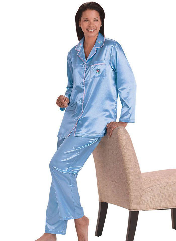 BrushedBack Satin Pajamas Satin pajamas Satin and Pyjamas