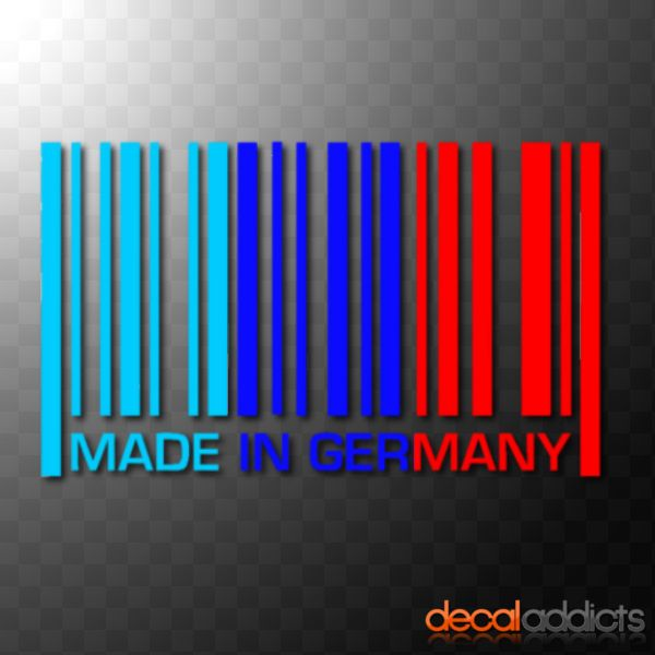 Made In Germany Vinyl Barcode Car Decal Sticker In BMW M Sport - Bmw car decals stickers