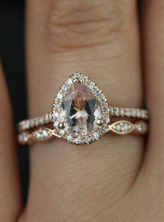 Tabitha 8x6mm & Christie 14kt Rose Gold Pear Morganite Diamonds Art Deco Scalloped Halo Wedding Set Rings,Rosados Box
