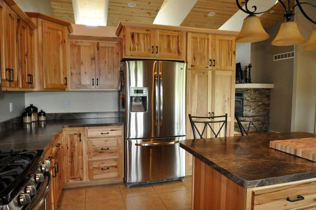 Natural Wood Kitchen Cabinets Hickory Kitchen Cabinets Farmhouse Kitchen Cabinets Hickory Kitchen