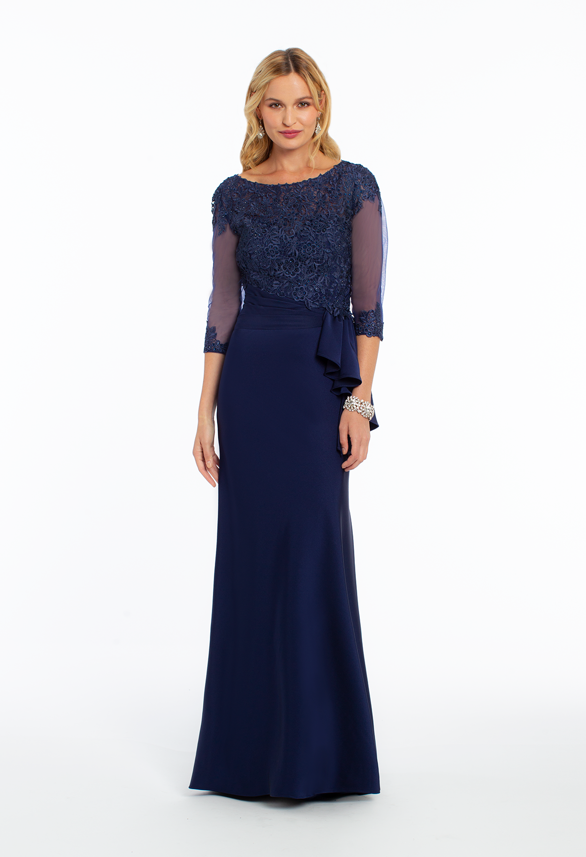 Lace illusion sleeve pleated cascade evening dress by camille la vie