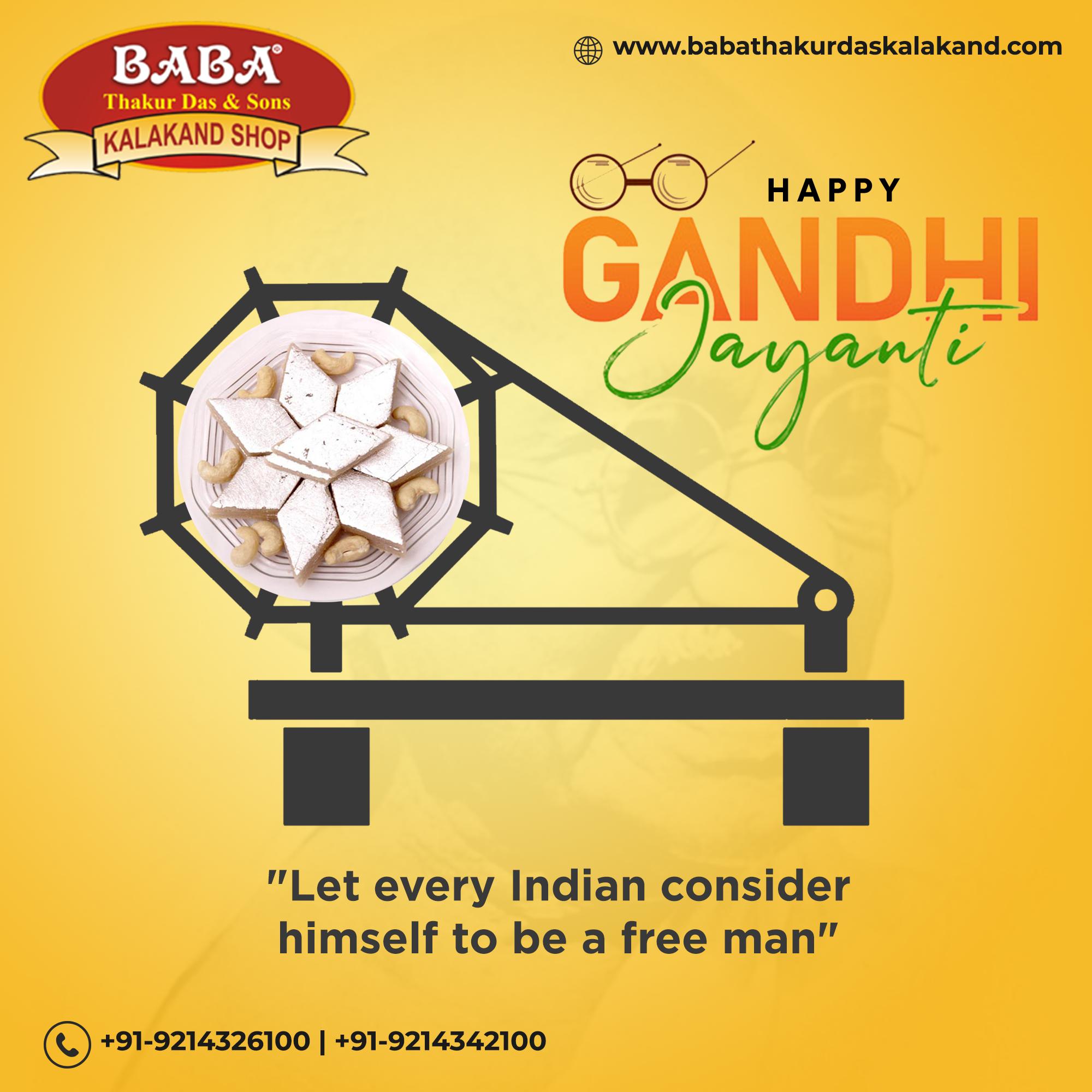 Experience Authentic Swadeshi Taste This Gandhi Jayanti. Happy Gandhi Jayanti.📞+91-9214326100 📞+91-9214342100  #mahatmagandhijayanti #gandhijayanti #mahatmagandhi #gandhiji #gandhi #india #gandhiquotes #freedom #october #bapu #fatherofnation #quote #mahatma #baapu #peace #gandhijayantispecial #quoteoftheday #nonviolence #happygandhijayanti #gandhijayanticreative #banner #sweetshop #sweets #indiansweets #yummy #foodies