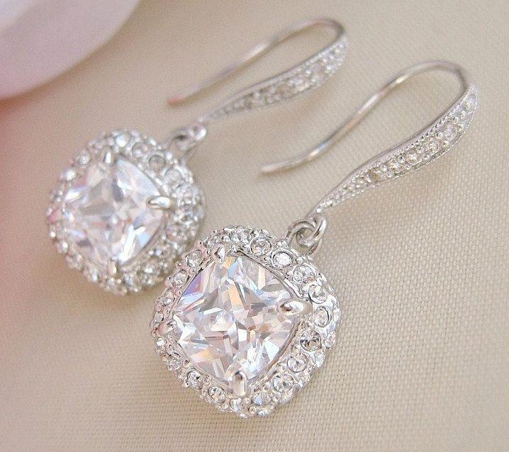 Square Bridal Earrings Wedding Crystal Jewelry Cushion Cut Dangle