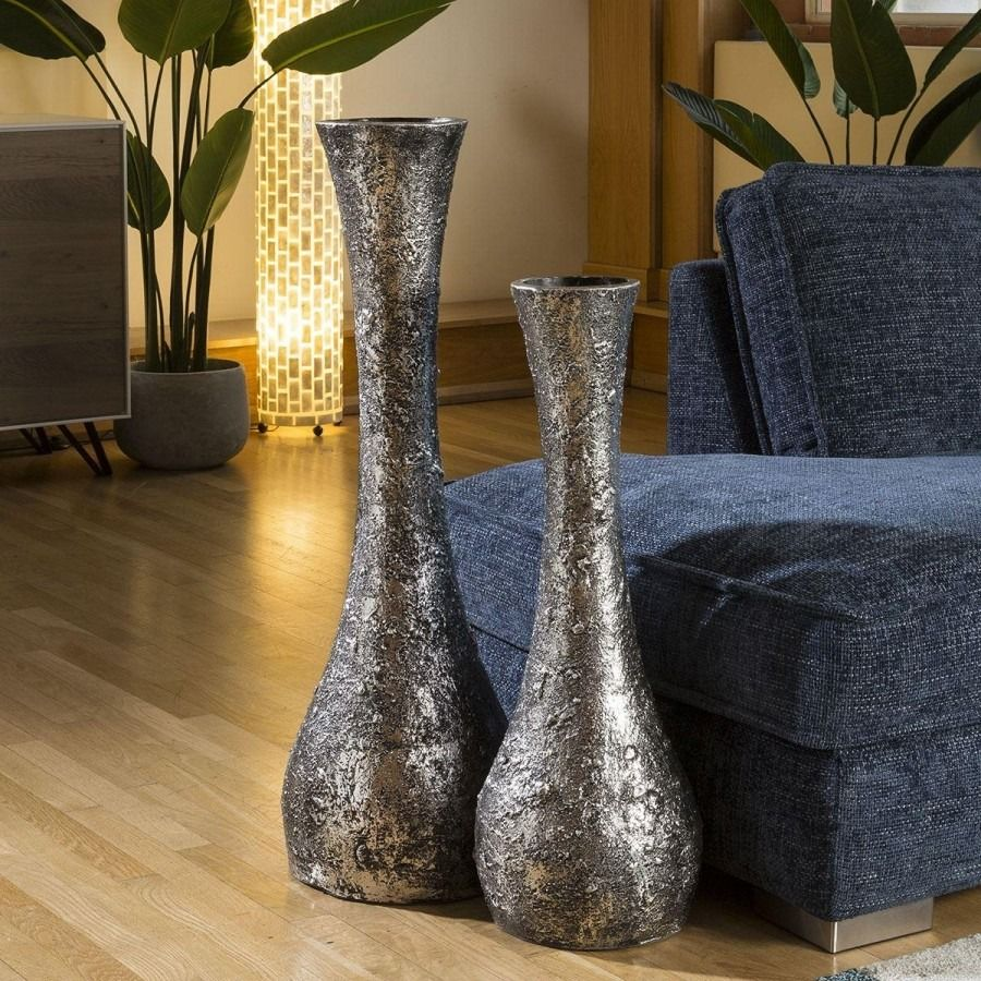Beautiful Pair Tall Embossed Silver Vases With Slim Necks These Large Vases Are Beautiful Pieces To Behold These Stunning Dec In 2020 Embossed Silver Vase Large Vase