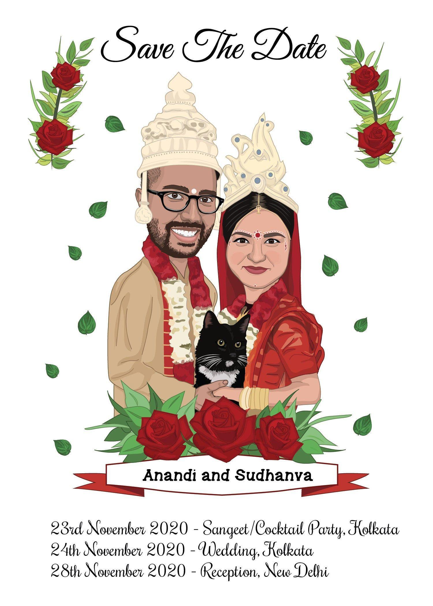 Custom Indian Bengali Wedding Invitation Personalized Etsy In 2021 Cartoon Wedding Invitations Bride And Groom Cartoon Personalised Wedding Invitations