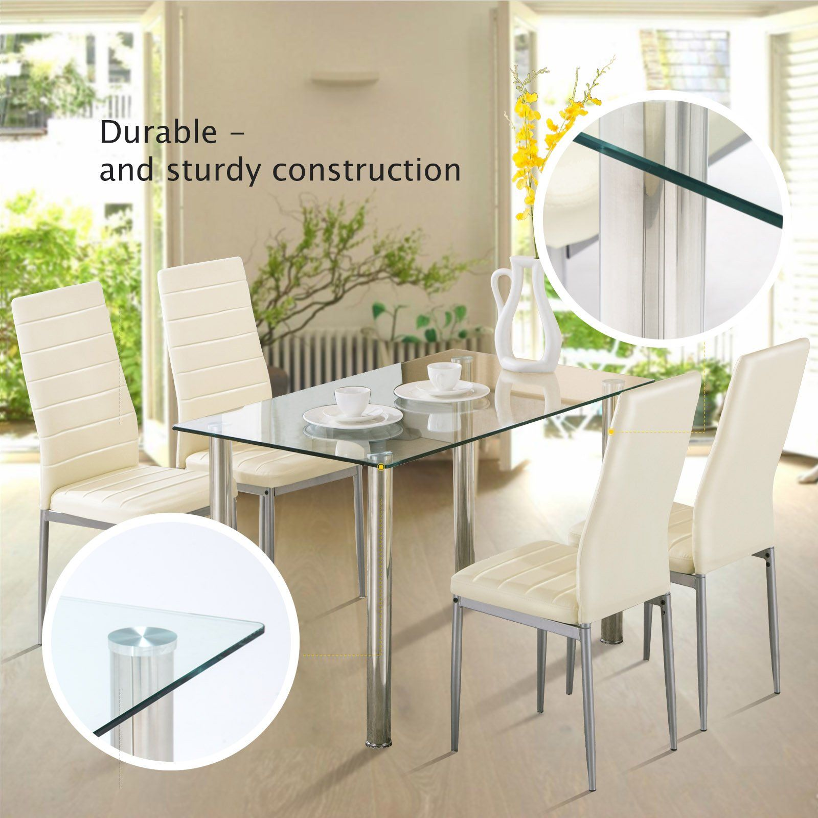 Mecor Glass Dining Table Set 5 Piece Kitchen Table Set With 4