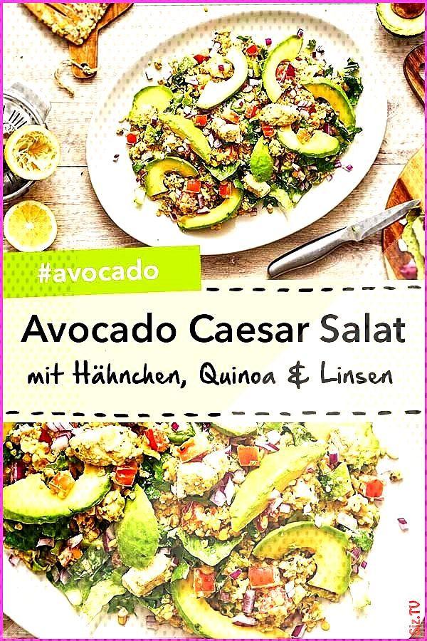 Avocado Caesar Salat mit H hnchen Quinoa und roten Linsen Avocado Caesar Salat mit H hnchen Quinoa