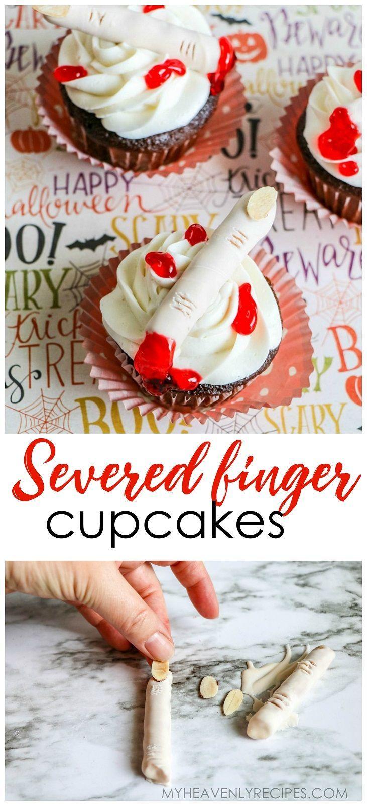 Severed Finger Cupcakes for Halloween. Halloween dessert