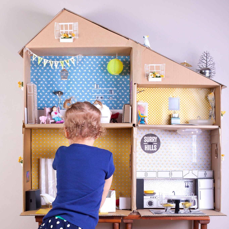 Modele De Maison En Carton Pour Jouer A La Poupee