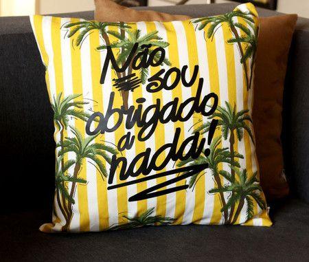 Almofada Obrigado - Amarela - HC Store