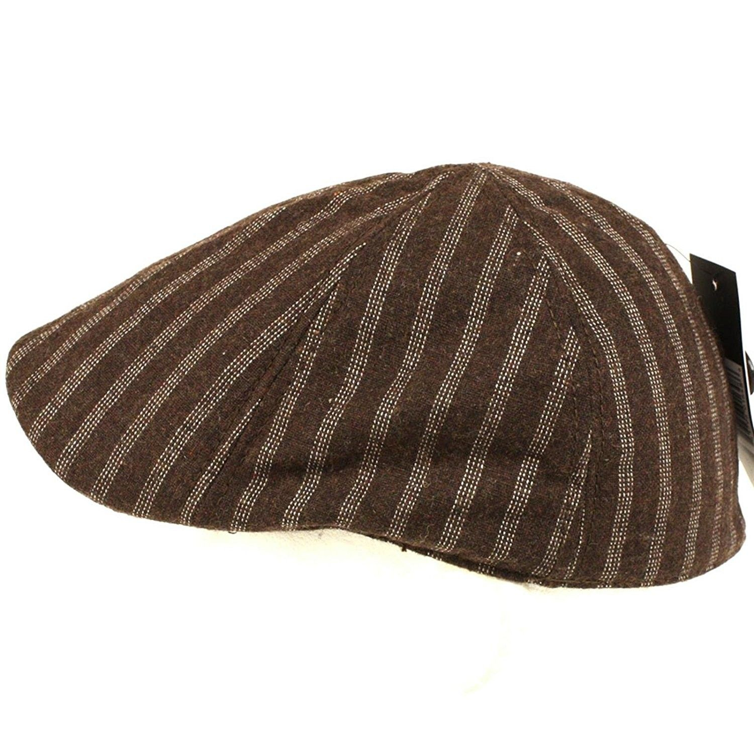 7ed14291541 Wool Pinstripe 6 Panel Duck Bill Ivy Cap Hat - Brown - CP115BPMITR - Hats    Caps