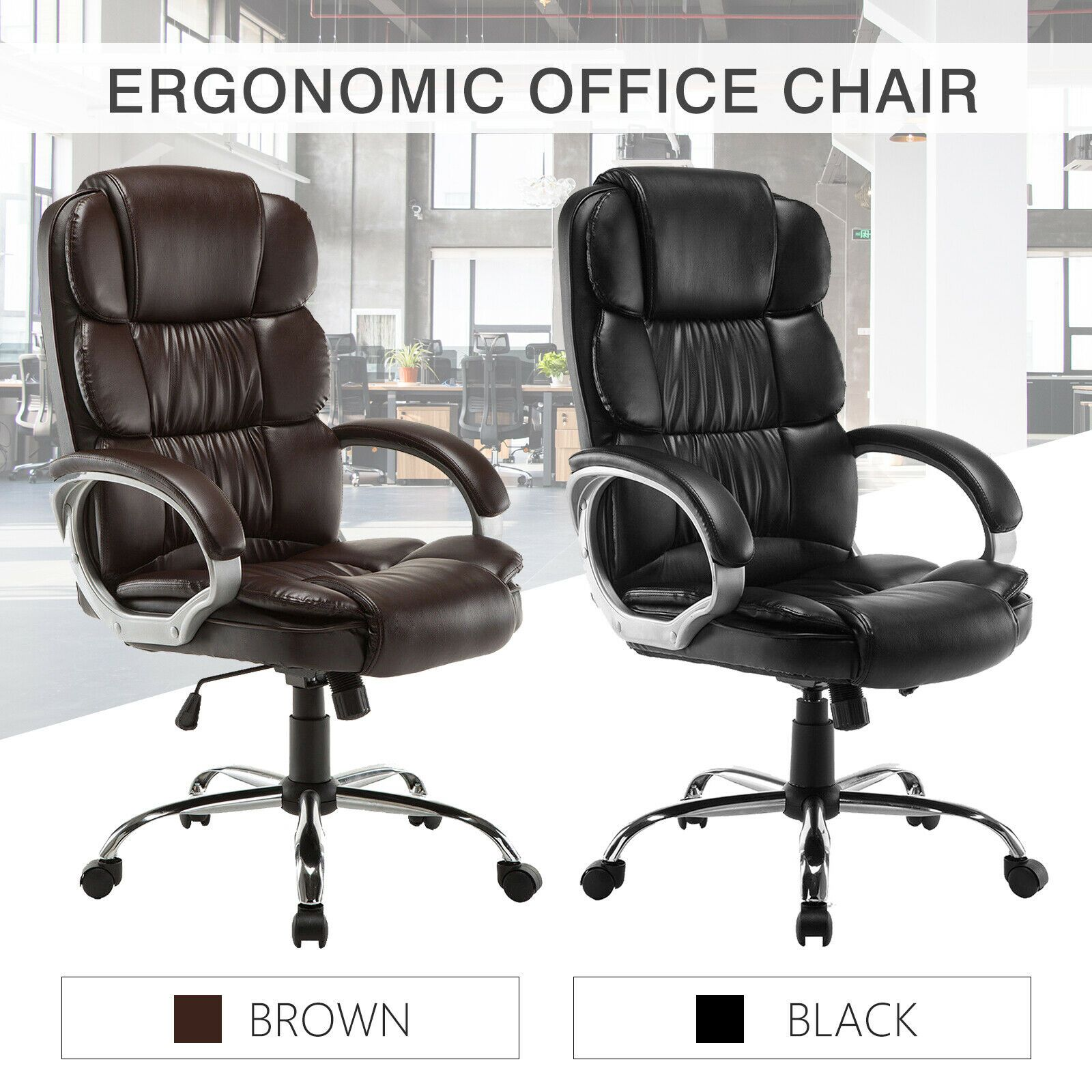 PU Leather High Back Office Chair Executive Task Ergonomic