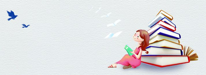 Reading Girl Background Banner Background For Powerpoint Presentation Simple Poster