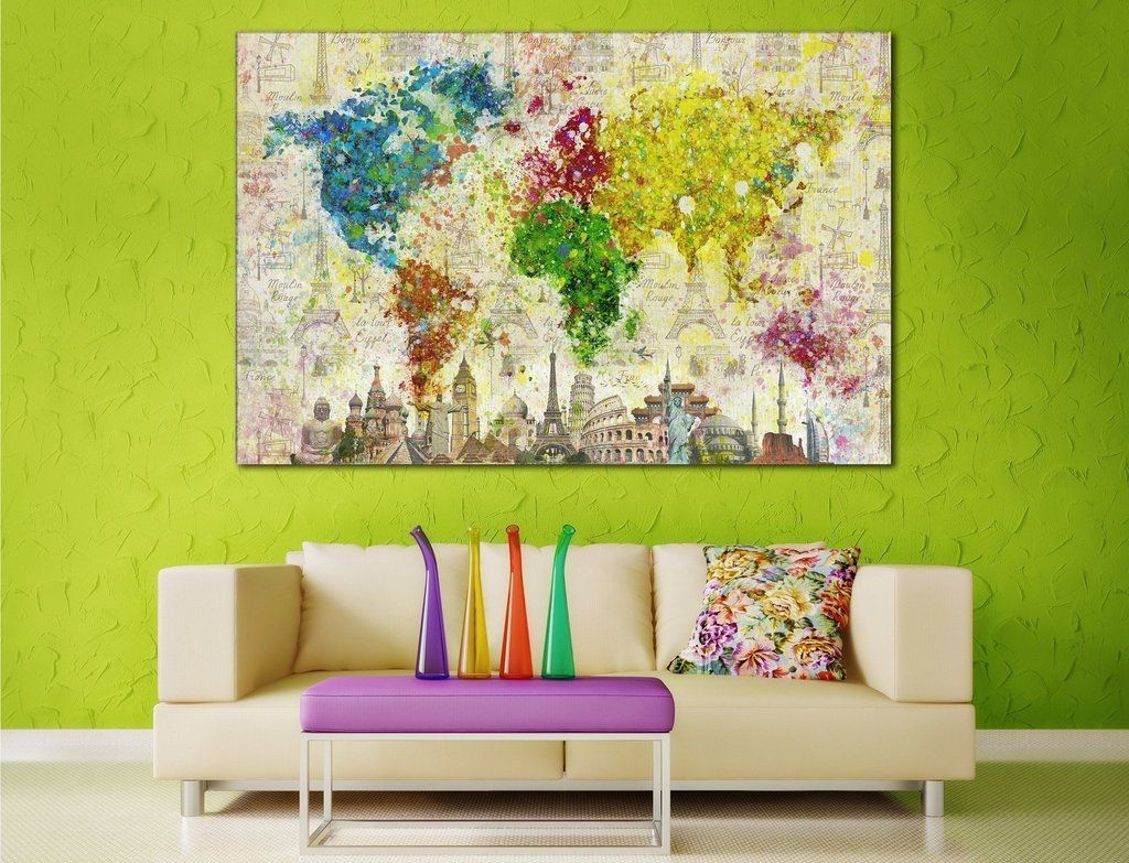 Color Splashes World Map №701 Canvas Print Canvas Print | Zellart ...