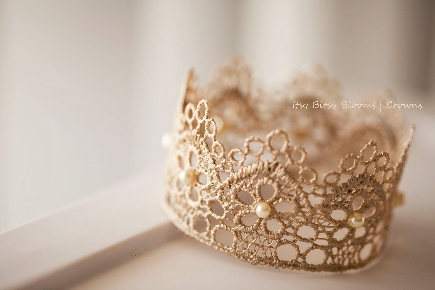 Beaded Antique Gold Lace Crown Baby Photo Prop Baby Girl