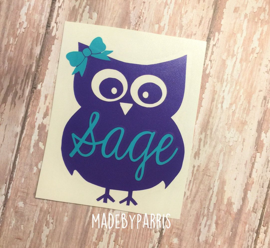Owl With Bow Monogram Vinyl Decal Owl Decal Monogram Decal Car - Owl custom vinyl decals for car