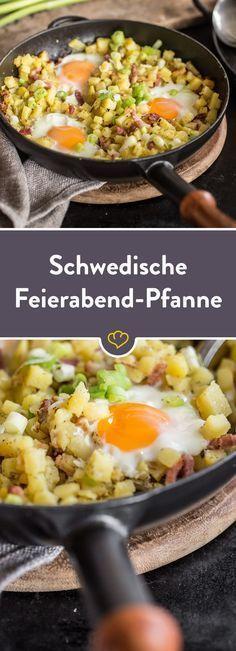 Feierabend in der Pfanne auf Schwedisch. Rein kommt, was die Küche hergibt, zum Beispiel Kartoffeln und Räucherspeck - #recipesforshrimp