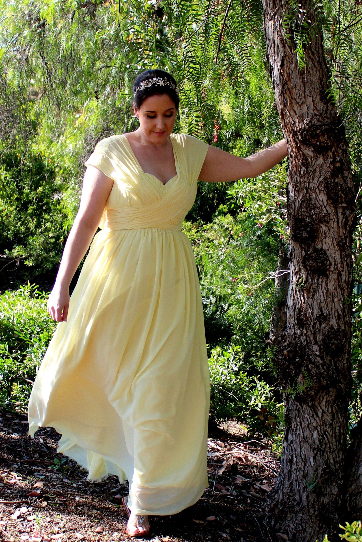 9902fe95886c Halcyon Yellow Chiffon Modest Prom Dress | Modest Prom Dresses ...