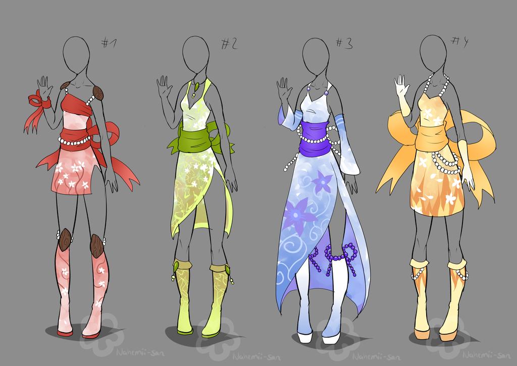 Kimono Inspired Outfits - sold by Nahemii-san.deviantart.com on @deviantART