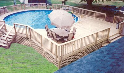 Custom wood deck with railing for above ground pool pool - Wood above ground pool ...