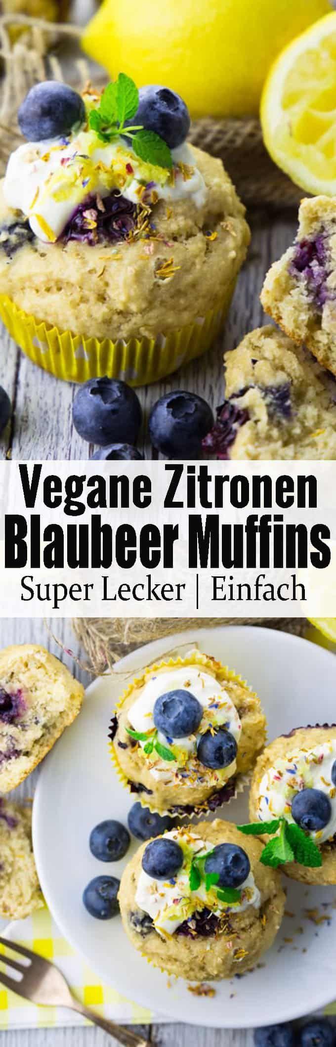 Vegane Muffins mit Blaubeeren #veganerezepte