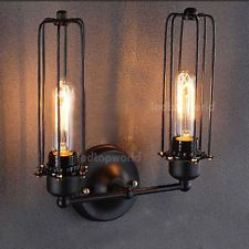 BLACK metal INDUSTRIAL RETRO Warehouse Edison DIY Wall Light Fixture VINTAGE DIY