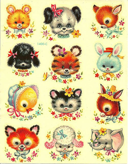 Cute Vintage Baby Animal Decals | Packaging and Design