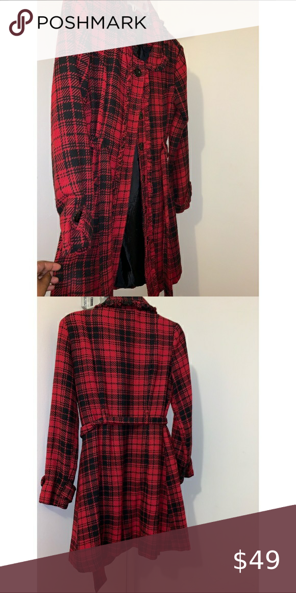 Photo of Lightweight Plaid Coat Red/black plaid design, lined lightly, with tie belt. Ext…