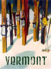 Vermont New England Ski Winter Sport Trail 12x16 Vintage Poster Repro FREE S/H