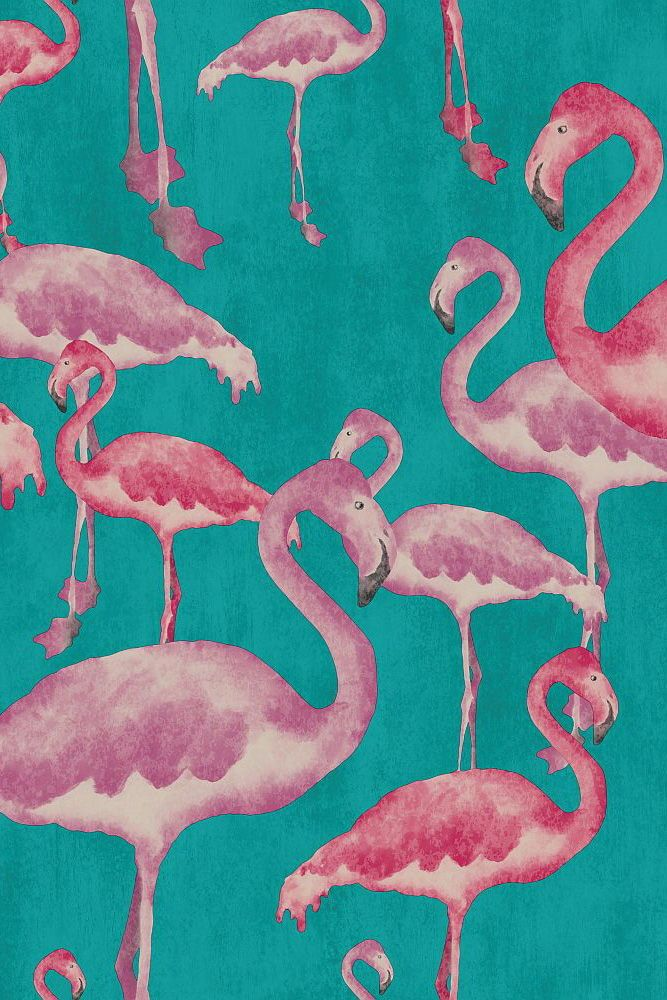 Painterly Flamingo Motifs Overlaid In Different Sizes Create