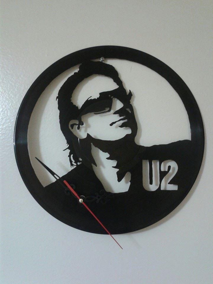 Bono u2 reloj de pared en disco de vinilo hecho a mano - Reloj vinilo pared ...