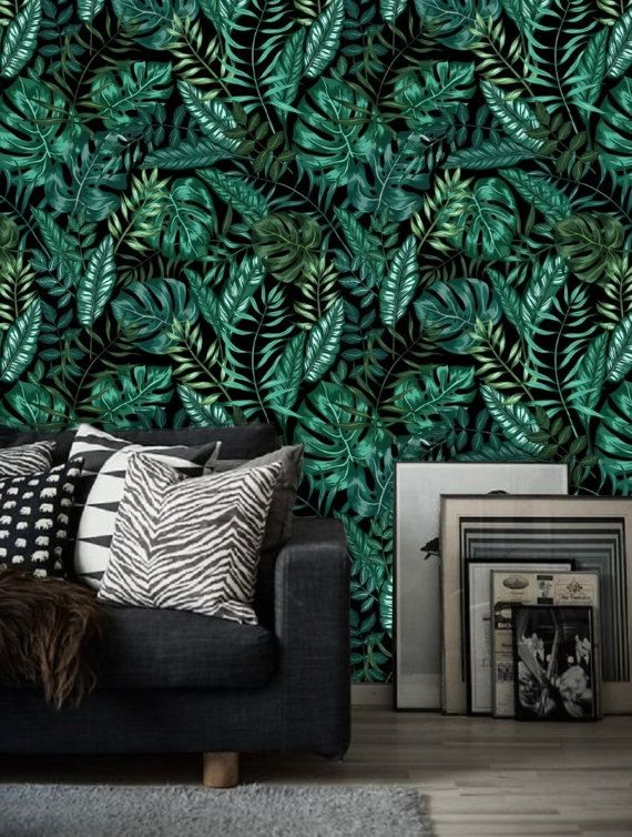 Peel And Stick Wall Paper Dark Leaf Wallpaper Wall Mural Etsy Wall Wallpaper Green Leaf Wallpaper Leaf Wallpaper