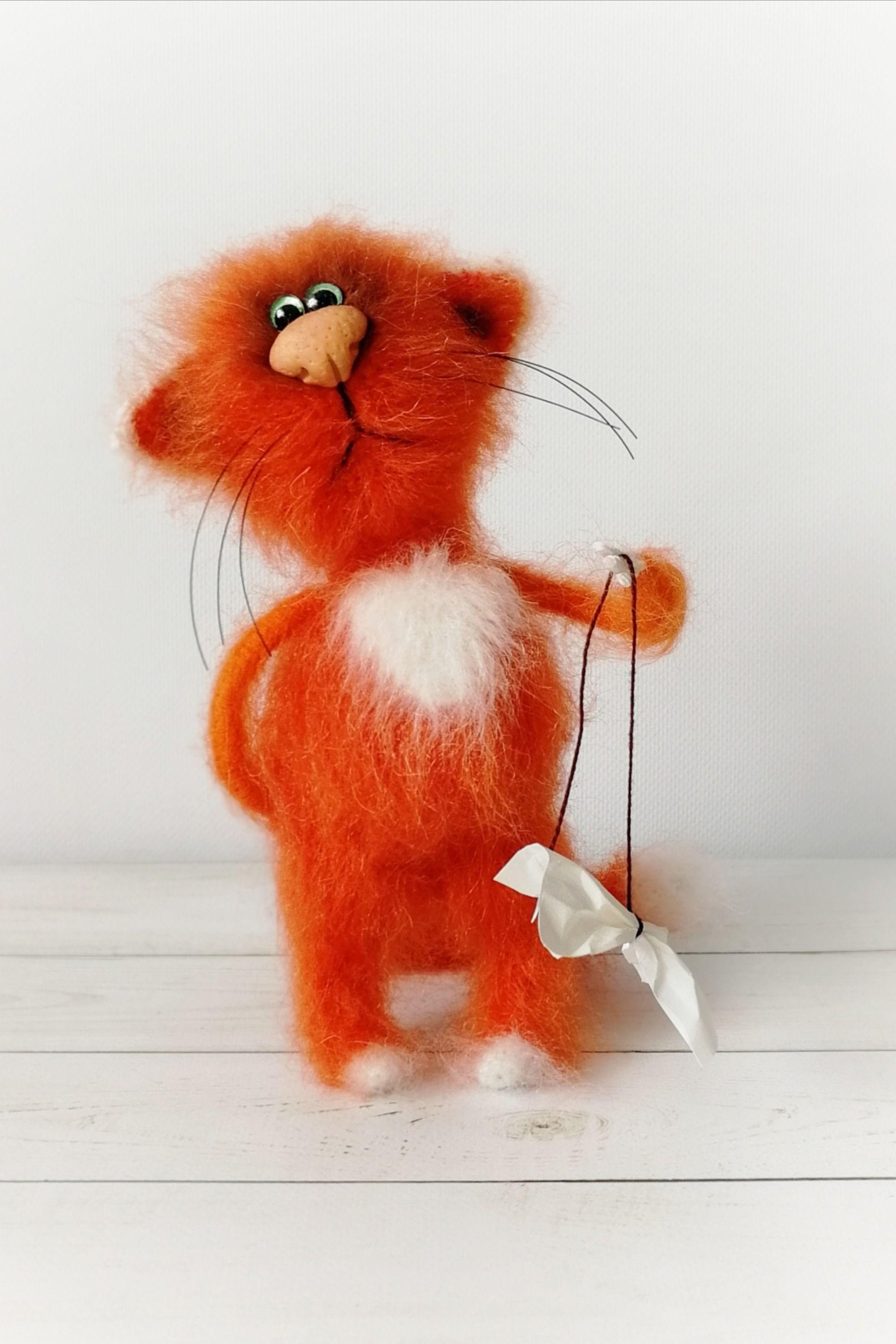 Figurine cat toy, stuffed kitten, miniature red animal