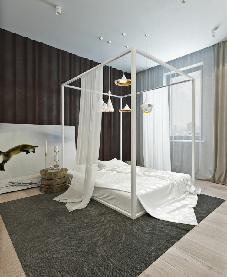 Lit baldaquin pour une chambre de déco romantique moderne | Bedroom ...