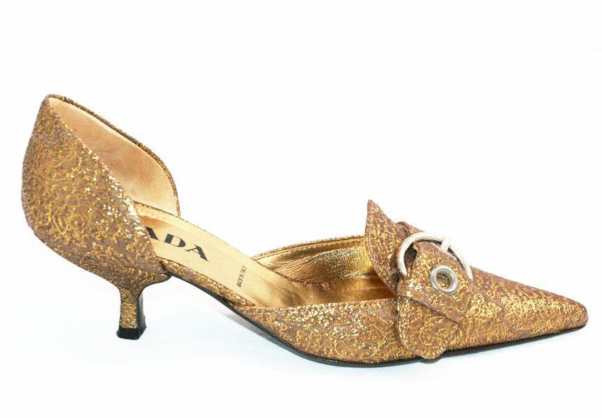Prada Kitten Heels Prada Gold Brocade Baroque Runway Buckle Kitten Heels 36 6 W Box Kitten Heels Heels
