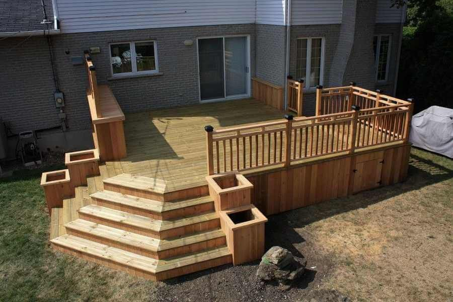 Here We Have An Amazing Modern Deck Idea For You This Outdoor Deck Is Designed With Stylish Stayers Built Deck Landscaping Patio Deck Designs Building A Deck