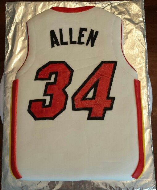 size 40 e8ce0 d3d0a Ray Allen Miami Heat jersey cake | My Cakes | Cakes for boys ...