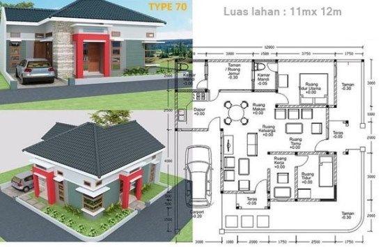 Denah Rumah Minimalis Type 70 Rumah In 2019 House Plans House