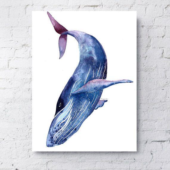 20 Off Humpback Whale Giclee Print Blue Purple Whale Wall Art Sea Creature Print Sea Animal Art Home Decoration Whale Art Whale Painting Watercolor Whale