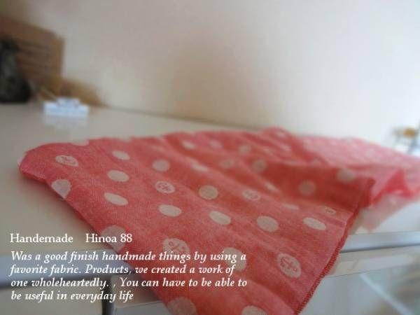 ハンドメイドHinoa8重ガーゼフェイスタオルいかりピンクいちご Handmade towels ¥100yen 〆04月23日
