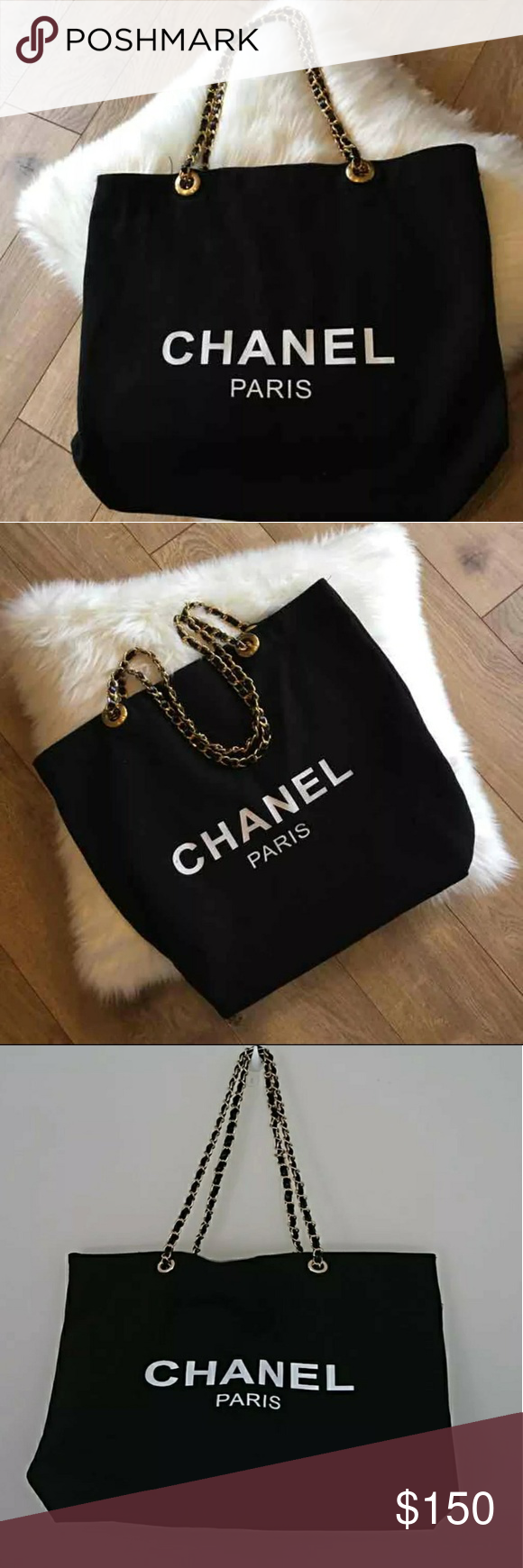 df976a9cac610f SALE New Chanel VIP Canvas bag CHANEL VIP Black canvas Tote Bag Shopping  Travel Shopper Leather(Faux Leather) Chain(Gold-Color Chain) Brand New with  ...