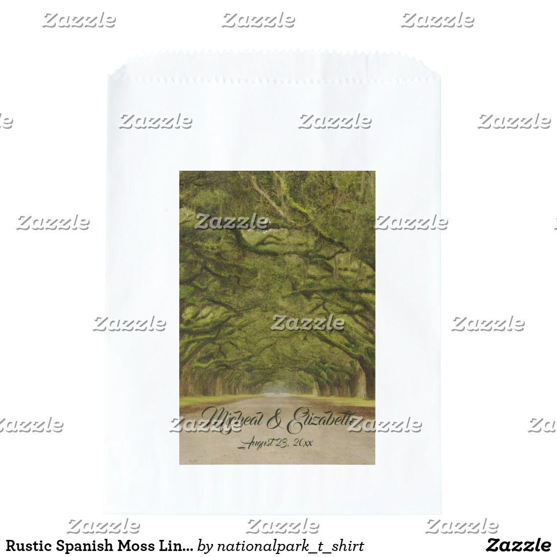 Rustic Spanish Moss Lined Live Oak Tree Wedding Favor Bag | Rustic ...
