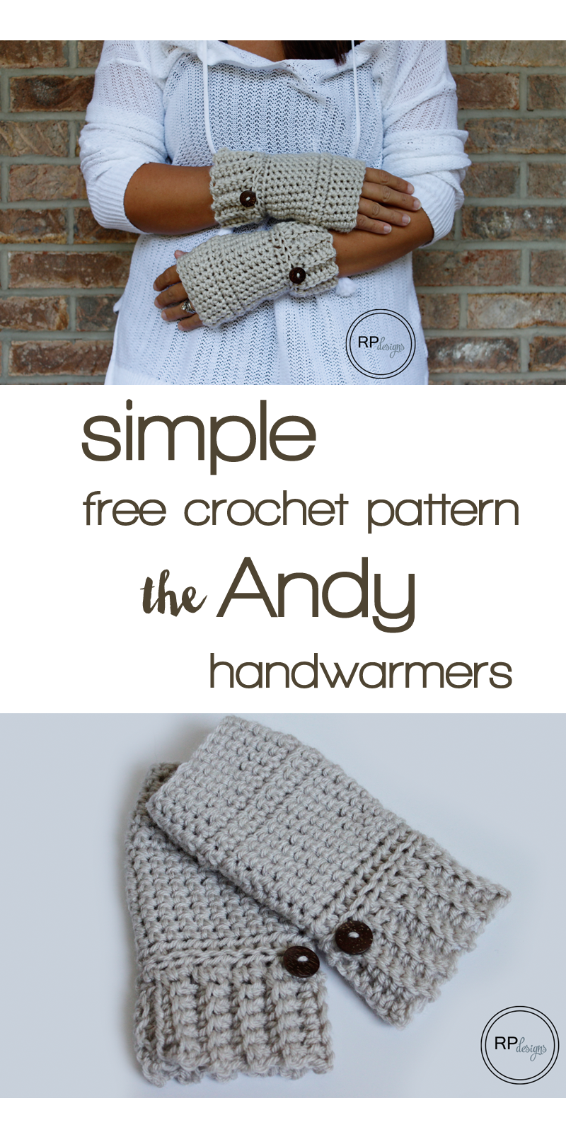 Simple Crochet Hand Warmer Pattern | Guantes, Mitones y Tejido