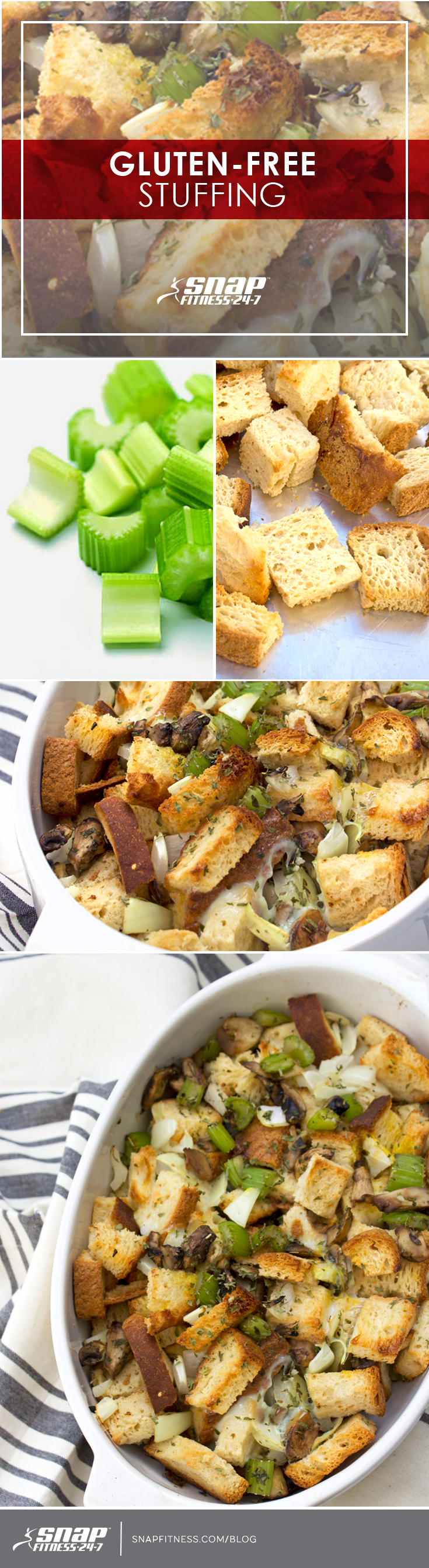 """""""Like"""" if you're ready for a delicious Thanksgiving feast! Remember, the holidays don't have to be unhealthy. Whip up some of our favorite gluten-free stuffing for your Thanksgiving gathering this year."""
