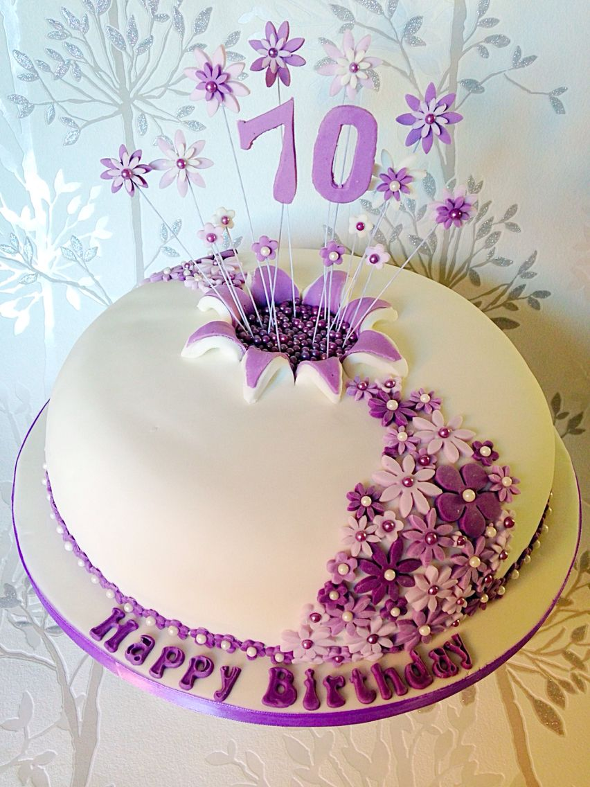 Shades Of Purple Flowers 70th Birthday Cake Cooking Baking