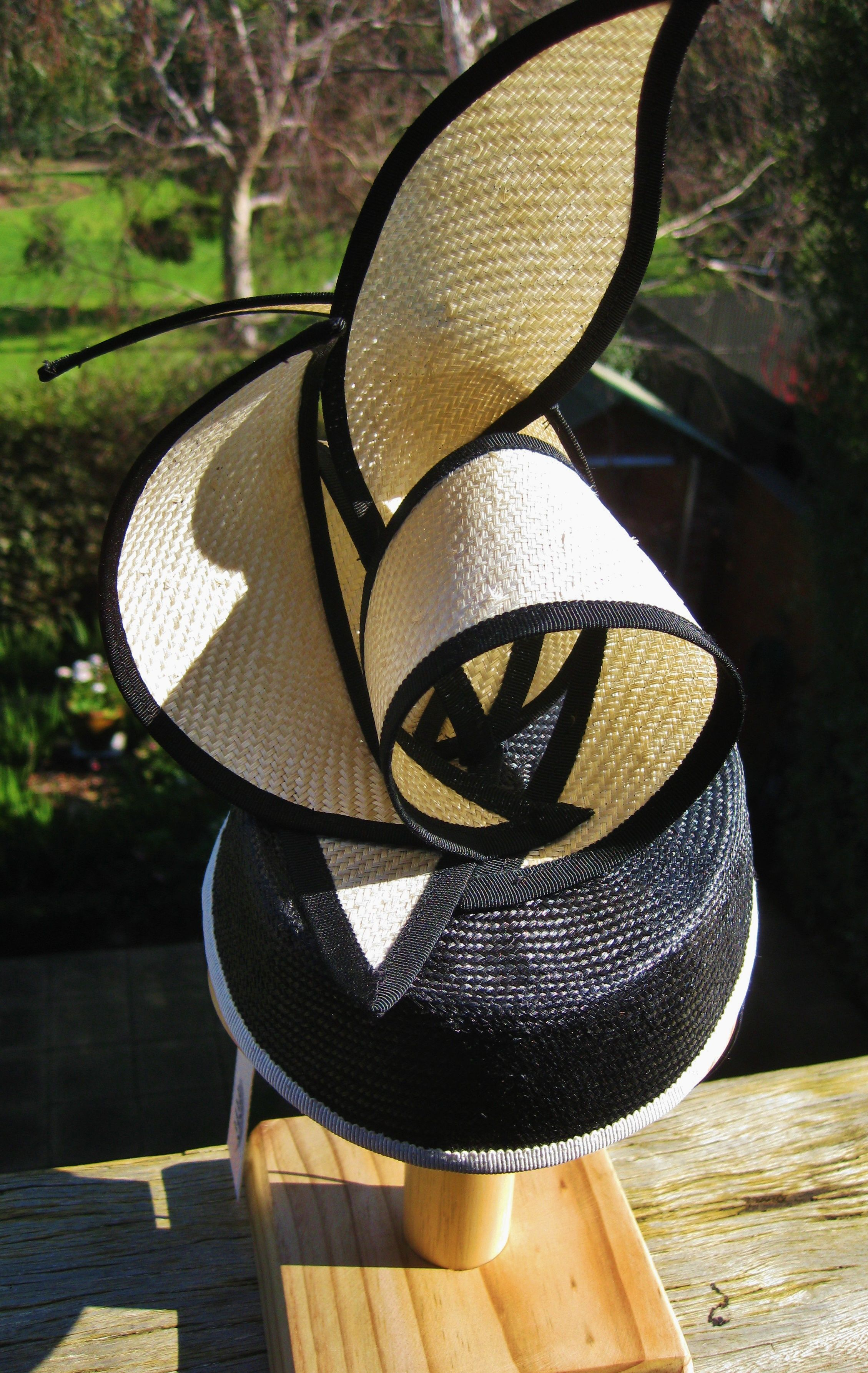 Hat made from vintage straw and silk organza