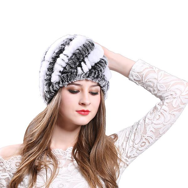 71aa893f351da Womens Classic Rex Rabbit Fur Beanie Winter Warm Stripe Hats at Banggood  women fashion accessories