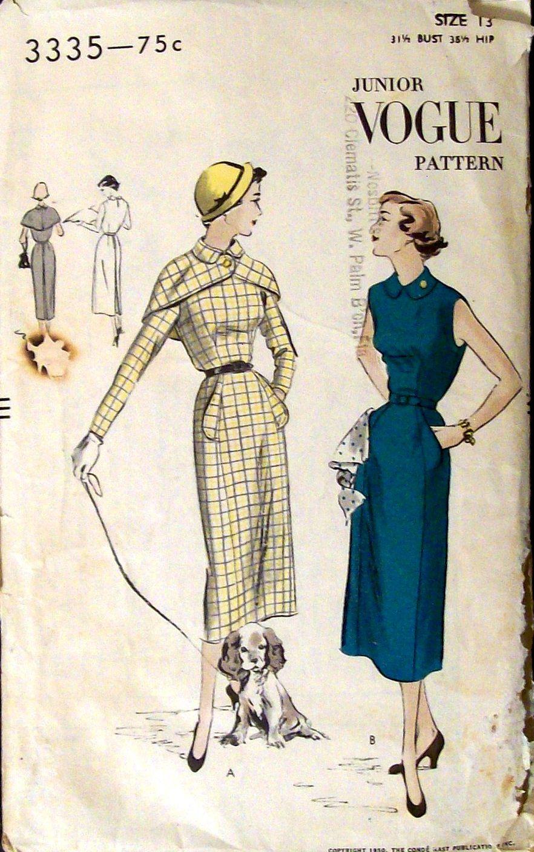 Vintage Copyright 1950 VOGUE SEWING PATTERN 3335 Lady\'s Dress ...