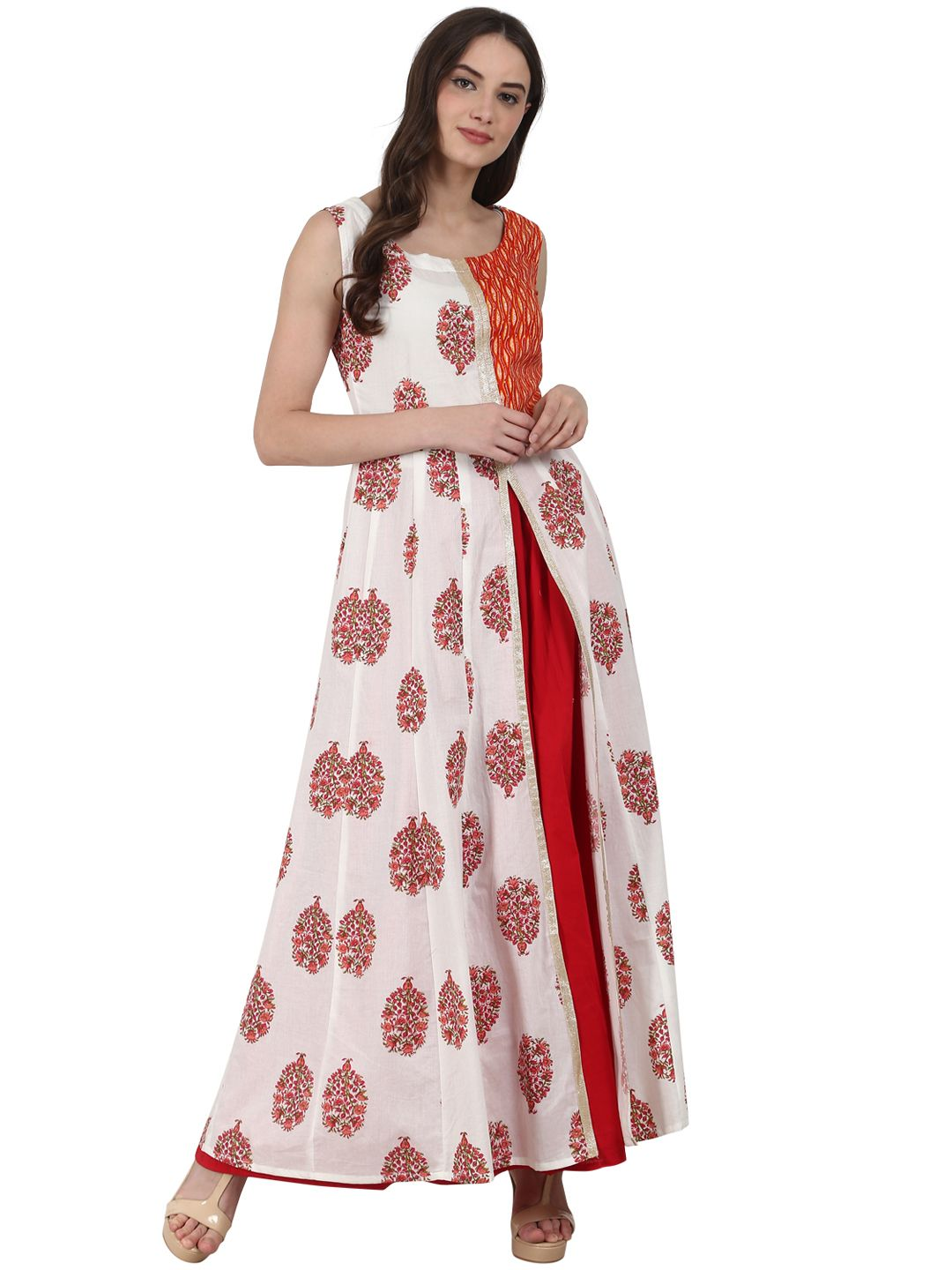 5eb875da6 Nayo Printed Layered Anarkali Kurta with High Slit  Anarkali  Layeredkurti   Cotton  Summer  Red  Kurta  Kurtis  Casual  Printed