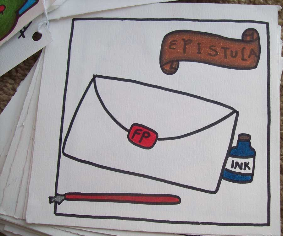 E is for Epistula (the latin word for mail) from a latin alpabet ...